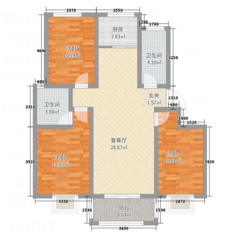 荣基春城3室1厅2卫1厨115.00㎡户型图