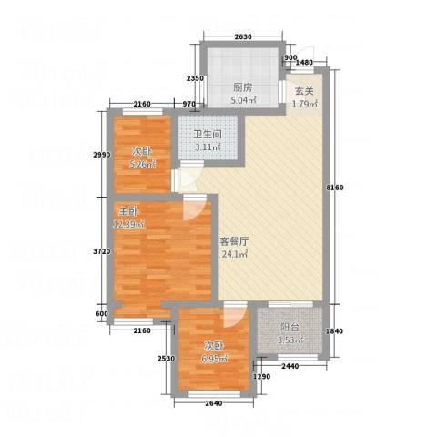 锦绣华城3室1厅1卫1厨23218.00㎡户型图