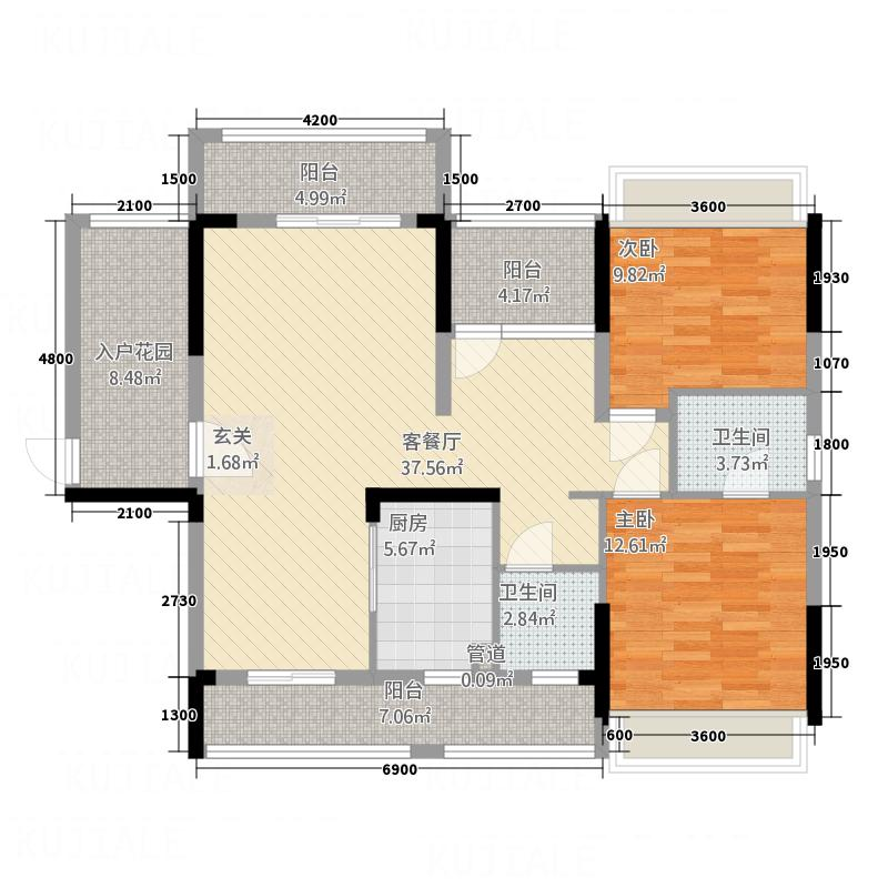 宝圆・财富广场512.52㎡5栋B02户型3室2厅2卫