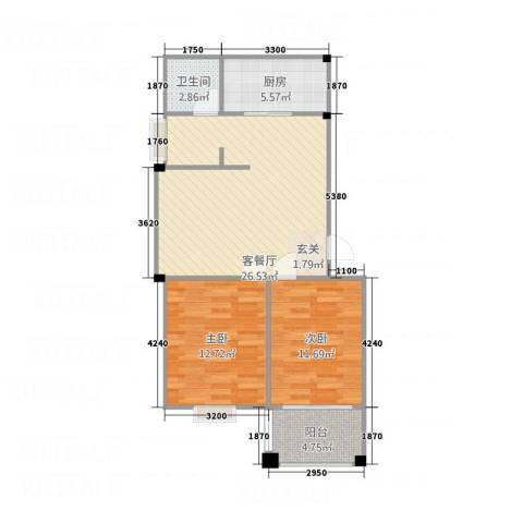福地清华苑2室1厅1卫1厨88.00㎡户型图