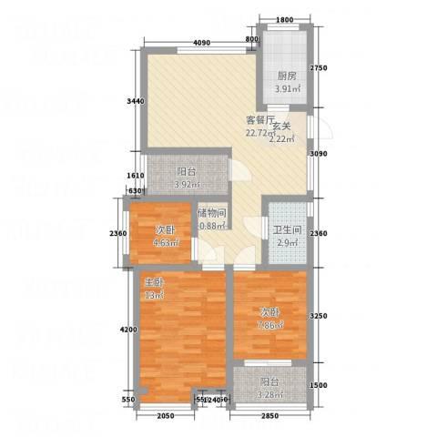 锦绣华城3室1厅1卫1厨13214.00㎡户型图