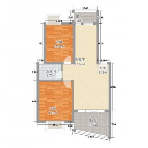 嘉怡锦湾2室1厅1卫0厨74.73㎡户型图