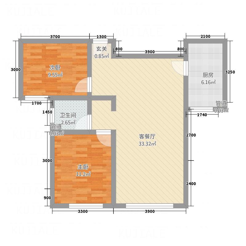 中博・孔雀蓝湾8.70㎡8、10#楼c户型2室2厅1卫1厨
