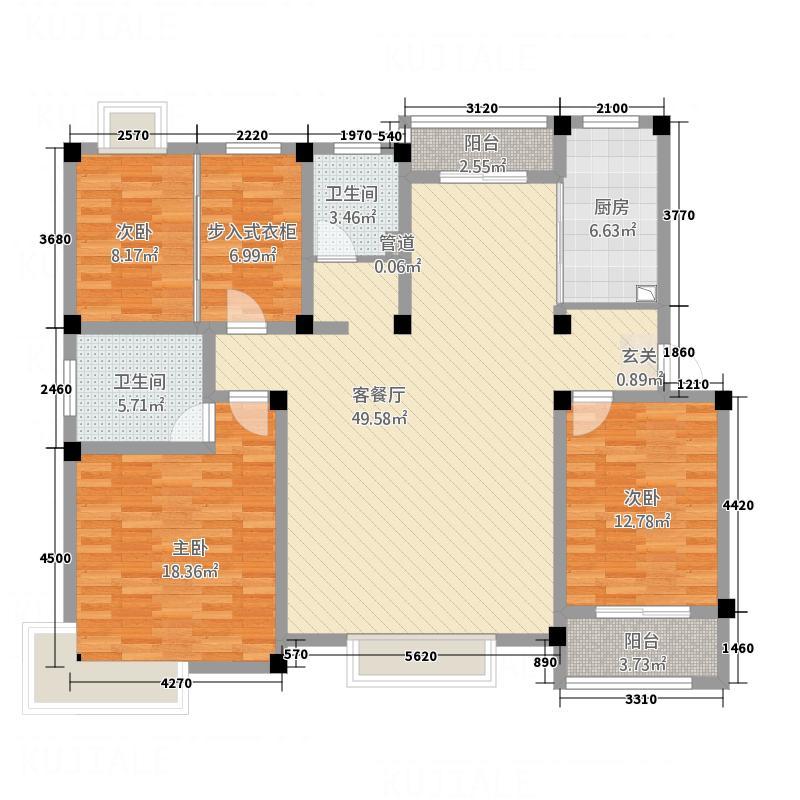 永兴花园168.61㎡时尚4户型3室2厅2卫