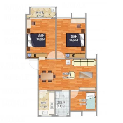 梅花山庄3室1厅1卫1厨95.00㎡户型图