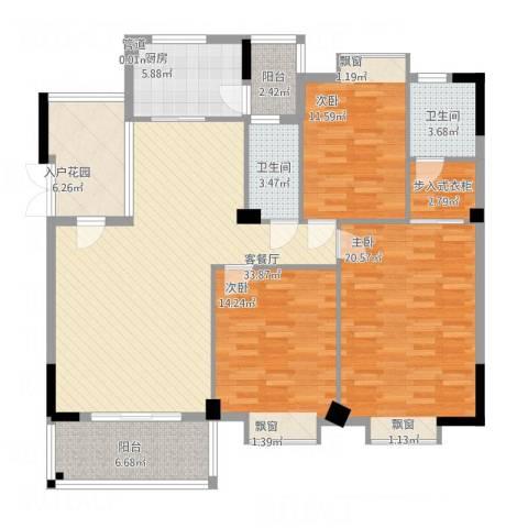 西堤国际花园3室1厅2卫1厨156.00㎡户型图