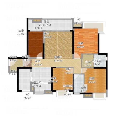 港航华庭2室1厅2卫1厨140.98㎡户型图
