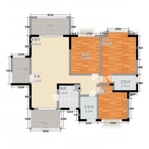 华美美立方3室1厅2卫1厨130.22㎡户型图