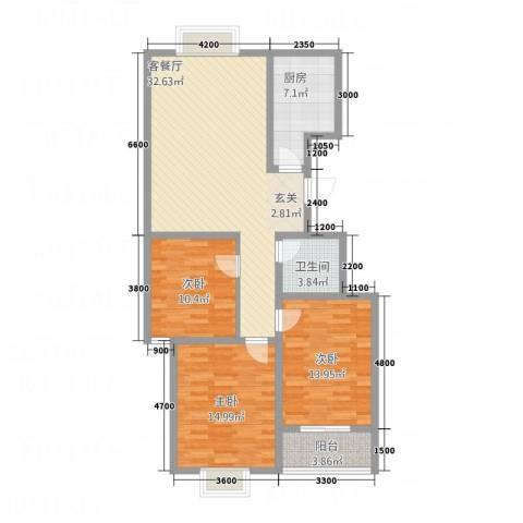 水墨世嘉3室1厅1卫1厨99.10㎡户型图
