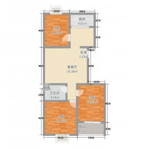 水墨世嘉3室1厅1卫1厨97.11㎡户型图
