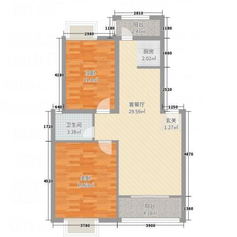 嘉怡锦湾2室1厅1卫0厨75.44㎡户型图