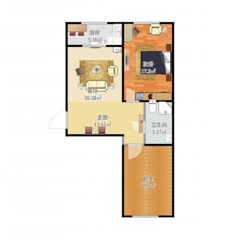 世水蓝庭1室1厅1卫1厨94.00㎡户型图
