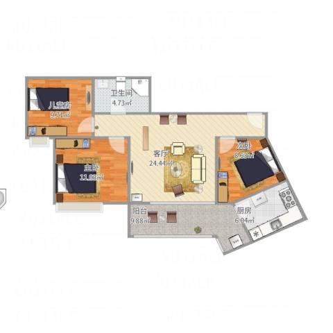 竹园阳光嘉苑3室1厅1卫1厨97.00㎡户型图