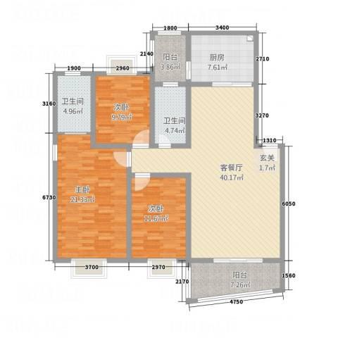 嘉怡锦湾3室1厅2卫1厨127.43㎡户型图