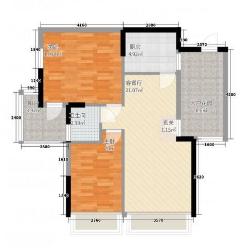 爱顿第3季花园2室1厅1卫1厨82.00㎡户型图