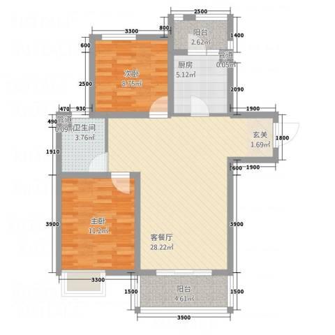 城市之星2室1厅1卫1厨93.00㎡户型图
