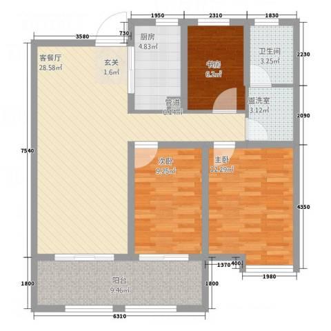 黎明公寓3室2厅1卫1厨112.00㎡户型图