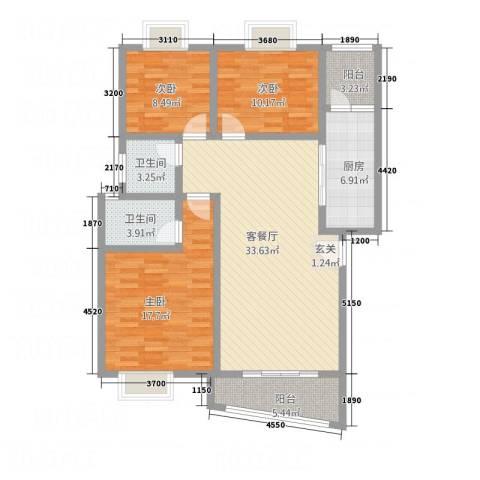 嘉怡锦湾3室1厅2卫1厨107.24㎡户型图