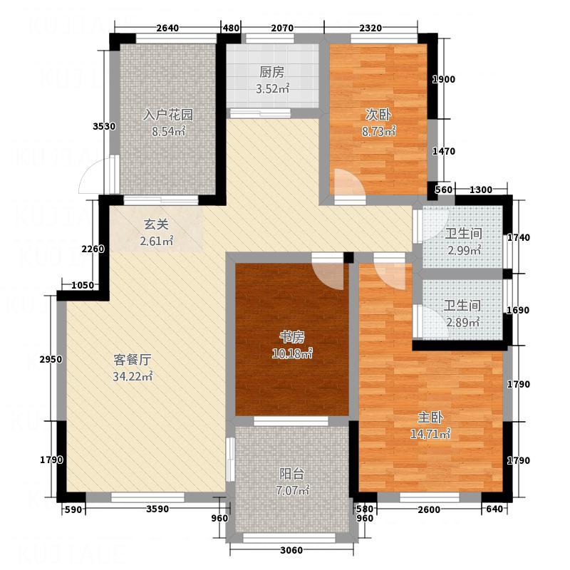 星凯国际121.35㎡E户型3室2厅2卫