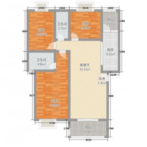 嘉怡锦湾3室1厅2卫1厨110.81㎡户型图