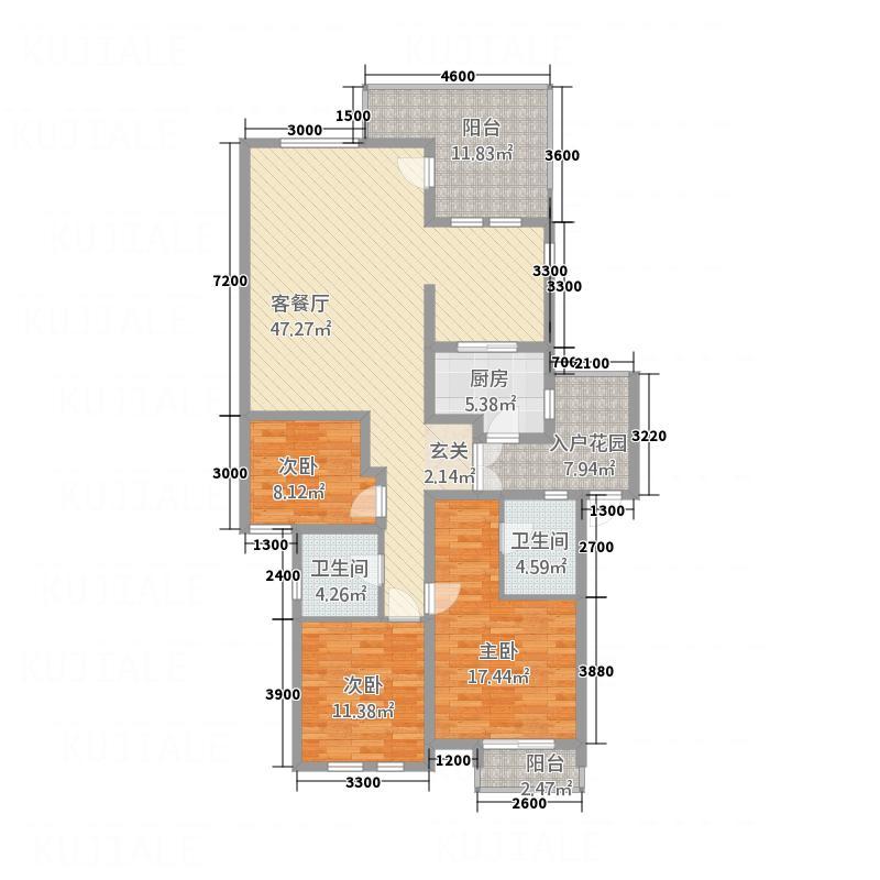 金色维也纳13.80㎡A1户型3室2厅2卫1厨