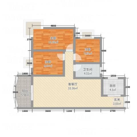 凯旋帝景3室1厅1卫1厨110.00㎡户型图