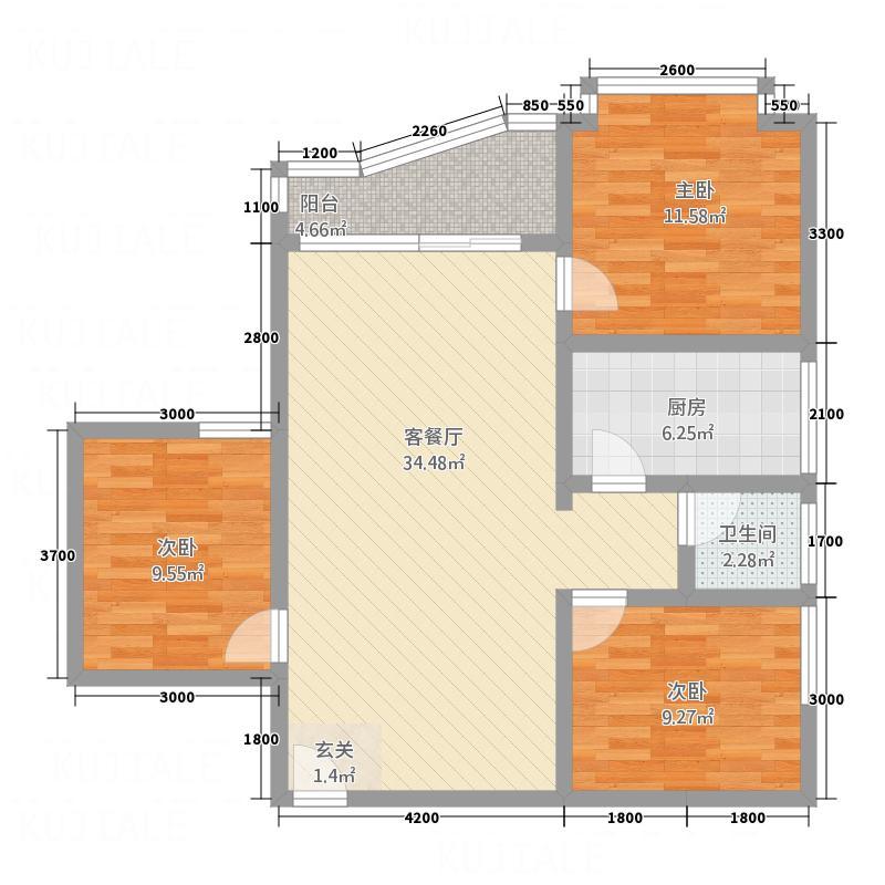 黄金海岸1.40㎡B户型3室2厅1卫1厨