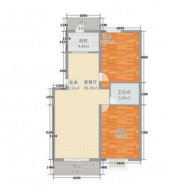 蜜糖小镇112.82㎡二期7号楼B户型2室2厅1卫1厨