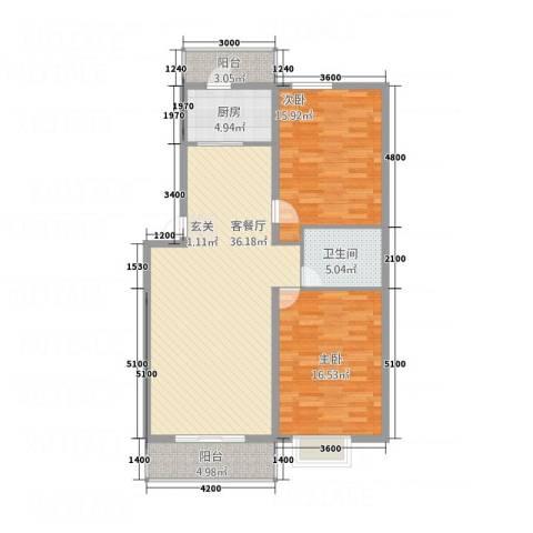 蜜糖小镇2室1厅1卫1厨113.00㎡户型图