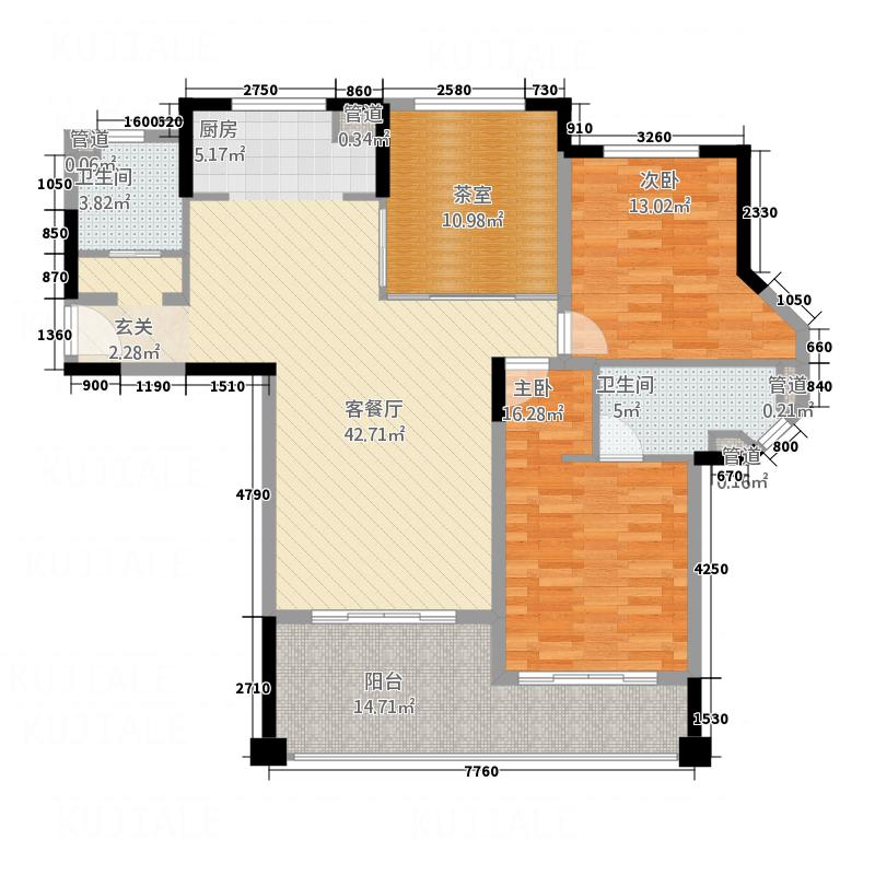 珊瑚宫殿珊瑚宫殿户型图B3公寓2室2厅2卫1厨户型2室2厅2卫1厨