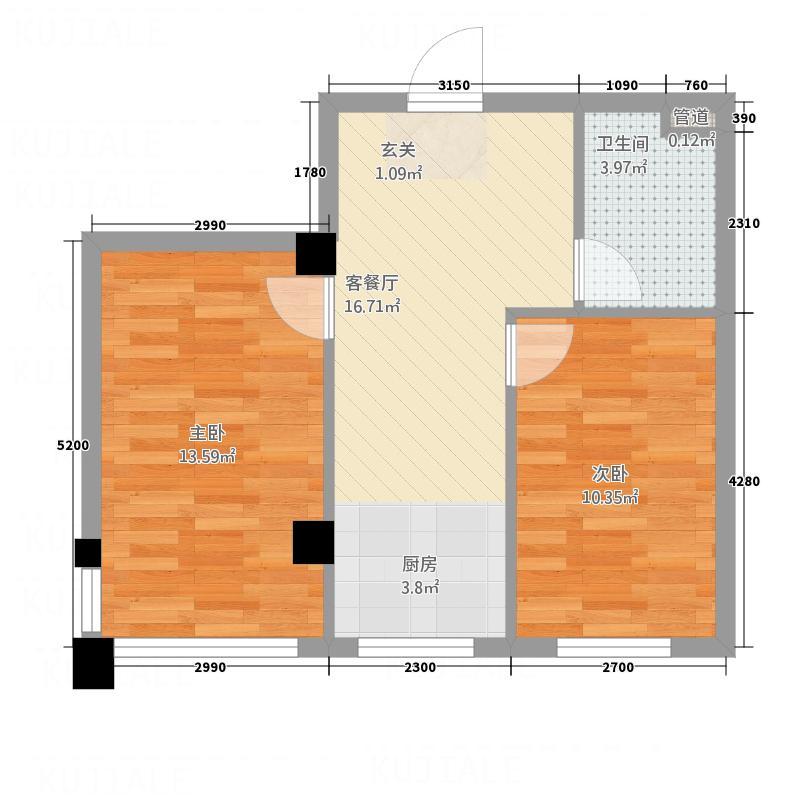 馨悦家园63.00㎡户型2室2厅1卫
