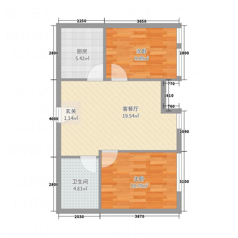 开发区国际大厦8.20㎡E户型2室1厅1卫1厨
