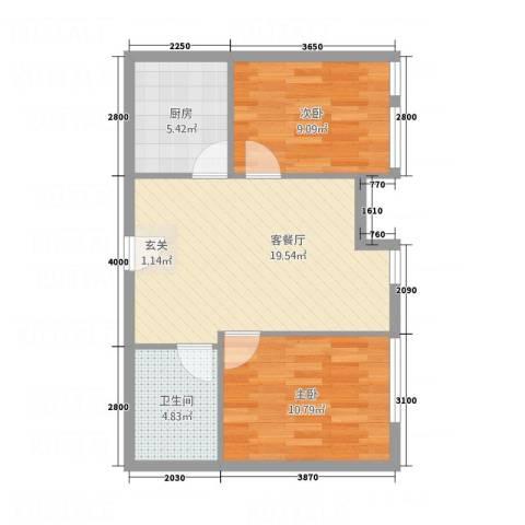 开发区国际大厦2室1厅1卫1厨49.68㎡户型图