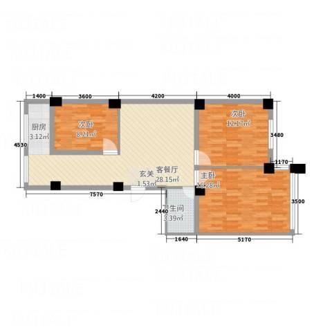 馨悦家园3室1厅1卫0厨68.19㎡户型图