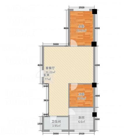 馨悦家园2室1厅1卫1厨77.00㎡户型图