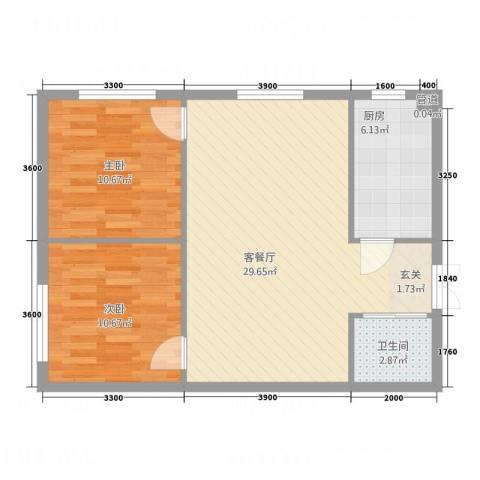 中立诚・悦府2室1厅1卫1厨60.03㎡户型图
