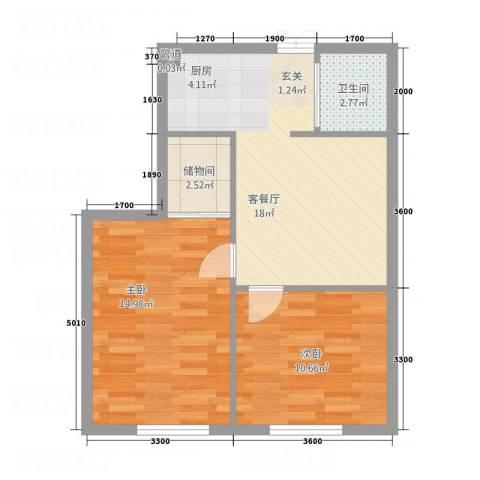 中立诚・悦府2室1厅1卫0厨48.97㎡户型图