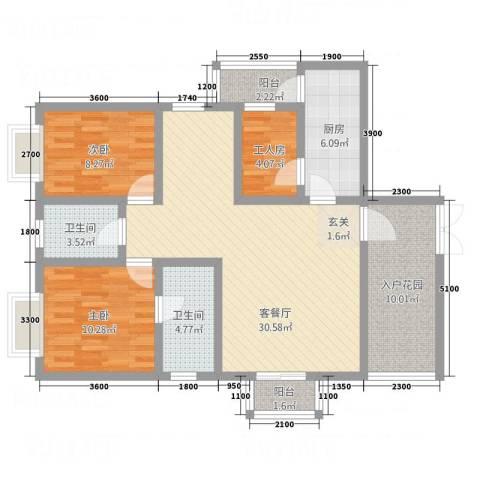 凯旋帝景2室1厅2卫1厨120.00㎡户型图