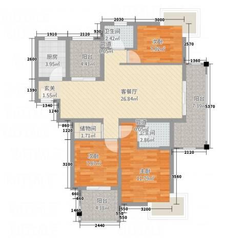 名士华庭3室1厅2卫1厨156.00㎡户型图