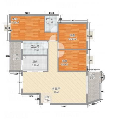 万裕豪苑3室1厅2卫1厨125.00㎡户型图