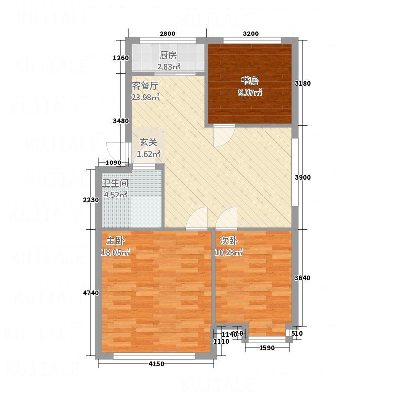 尚文苑8.25㎡c户型3室2厅1卫1厨