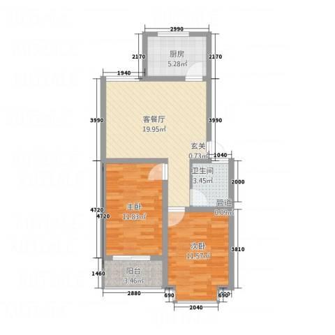 福泽苑2室1厅1卫1厨55.64㎡户型图