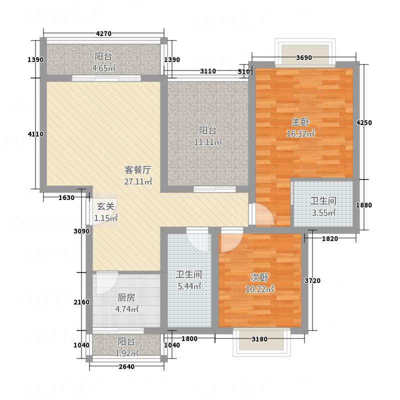 东方名苑8.20㎡E2户型2室2厅2卫1厨