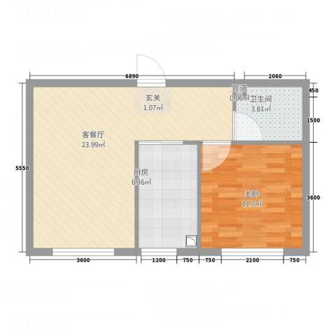 大连安波国际温泉新城1室1厅1卫1厨59.00㎡户型图