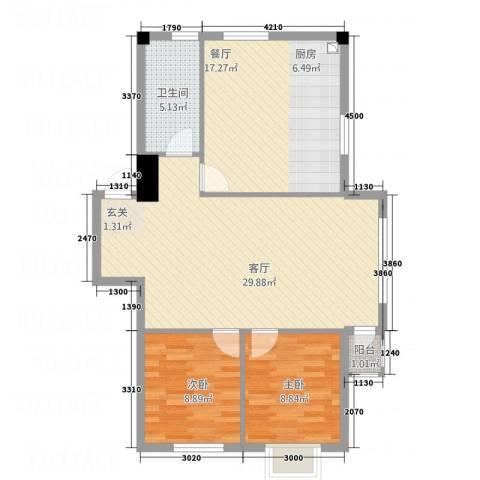 翠岭明珠2室2厅1卫0厨71.03㎡户型图