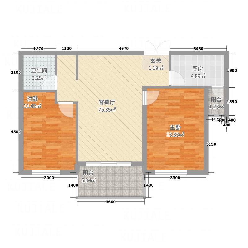 欢乐颂85.05㎡欢乐颂户型图E1户型2室2厅1卫1厨户型2室2厅1卫1厨