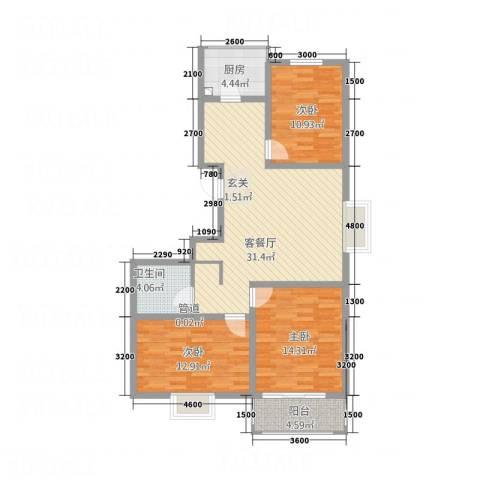 左岸明珠3室1厅1卫1厨112.00㎡户型图