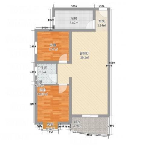 福泽苑2室1厅1卫1厨88.00㎡户型图