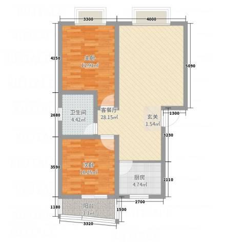 尚高城市花园2室1厅1卫1厨63.78㎡户型图
