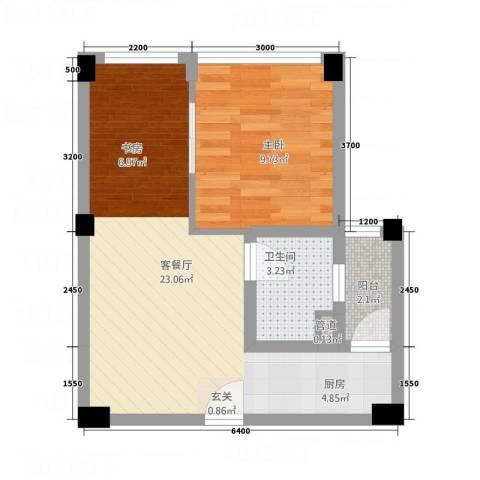 碧桂园・空港国际1室1厅1卫0厨56.00㎡户型图